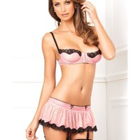 Rene Rofe Hookin' Up Bra, Skirt & G-string Pink M-l