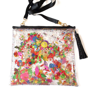 Large Rainbow Sequin and Glitter Plastic Clutch Handbag