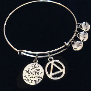 Master of Your own Destiny Alcoholics Anonymous Strength Courage Faith Silver Expandable Charm Bracelet Bangle