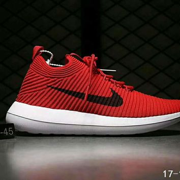 Nike Roshe Two Flyknit V2 Fashion Women Men Running Sport Casual Sneakers Shoes Red I-HAOXIE-ADXJ