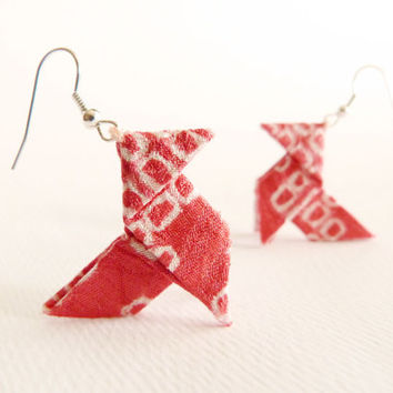 Coral Origami earrings made with Japanese silk