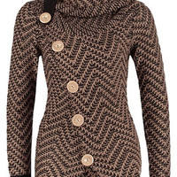 Turtleneck Long Sleeves Button Design Knitted Jacket