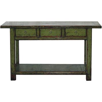 Pre-owned Olive Green Console Table