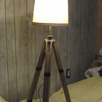 vintage wood Surveyor's tripod industrial  Floor Lamp or table lamp
