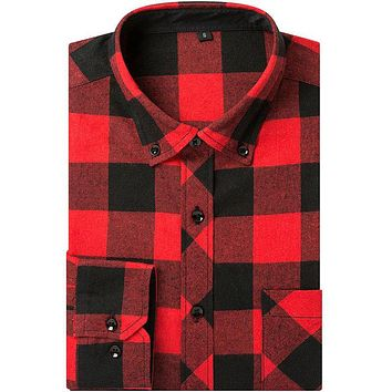 Plus Size New Fashion Men Brushed Plaid Shirts Flannel Long Sleeve Button-Down With Pocket Classic Social Male Casual Shirt
