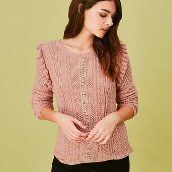 Naf Naf Cable Ruffle Knit Jumper