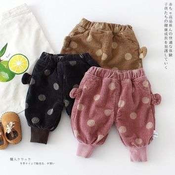 2017 Children Pants Warm Winter Newborn Baby Boys Girls Corduroy Dpts Pants Kids Corduroy Trousers Brushed Big PP Pants A768