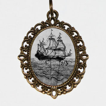 Pirate Ship Necklace, Pirates, Pirate Boat, Ocean, Sailing Jewelry, Bronze Oval Pendant