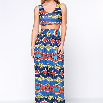 Streetstyle  Casual Colorful Tribal Printed Deep V-Neck Crop Top And Flared Maxi Skirt