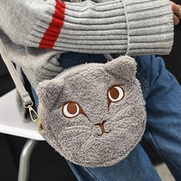 Flocking Kitten Embroidered Shoulder Bag