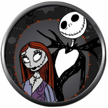Nightmare Before Christmas Jack Skellington Loves Sally 18MM - 20MM Charm for Snap Jewelry New Item