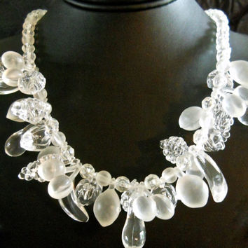 Lucite Fruit Salad Necklace, Clear & Frosted Beads, Vintage