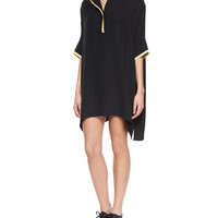 Rag & Bone Dana Striped-Trim Silk Tunic