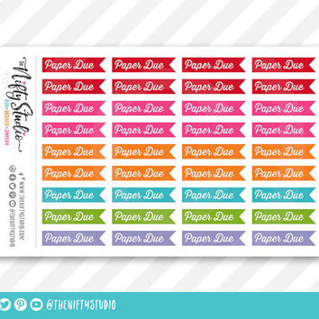 Paper Due College Planner Stickers | The Nifty Studio | Planner Stickers Erin Condren compatible, Planner Stickers School