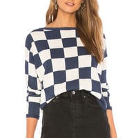 27 miles malibu Kiana Cropped Sweater in Indigo & Linen