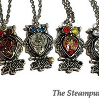 Steampunk  Owl Pendant Necklace  Clockwork Owls Necklace Owl Necklace