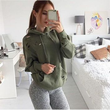 LMFMS9 Women's Fashion Hot Sale Hats Ripped Holes Green Tops Hoodies [8505779533]
