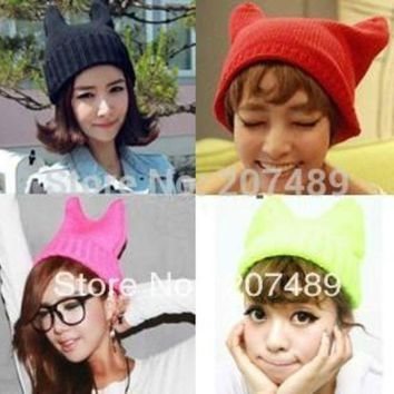 CREYCI7 ladies''s fashion devil horns cat ear Knitted hat Beanie Cap Autumn Spring Winter multi colors option whcn+