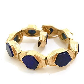 Modernist Panetta Faux Lapis Bracelet, Lapis Hexagon Glass, Textured Gold Tone, Vintage Gift for Her, Statement Bracelet, Designer Signed