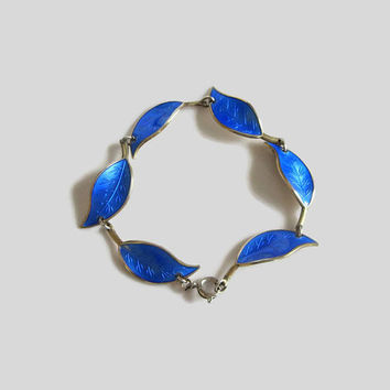 Blue Leaf Bracelet, Cobalt Enamel, Vintage David-Andersen Norway Sterling, Designer Willy Winnaess, Basse-Taille & Gold Wash