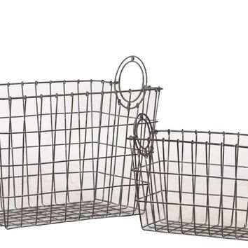 Attractive Rectangular Shape Wire Meshed Basket W/ Circular Side Handl'S Set Of Two