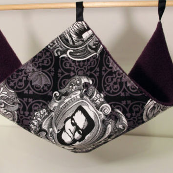 Hanging Rat Hammock, Chinchilla Sling, Guinea Pig Canopy - Skulls, Frankenstein, Dracula, Mummy Halloween Theme with Aubergine Purple Fleece
