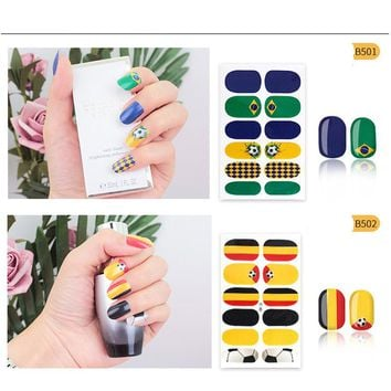 World Cup Series 2018 Nail Stickers For Nails Art 3D Nail Sticker Water Decal 16 Style Adhesive Nail Art Transfer Sticker Hot