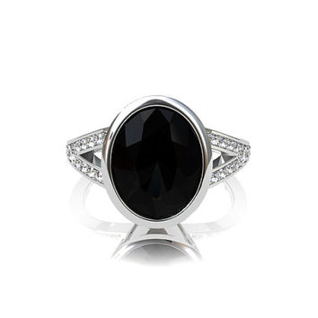Oval cut black spinel engagement ring, white gold, diamond ring, black engagement, split shank ring, unique, spinel wedding, bezel, gothic