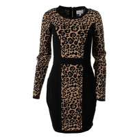 Milly Womens Jacquard Cheetah Sweaterdress