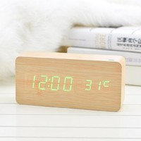 KABB Bamboo Grain Design Green Light Decorative Desktop Alarm Clock with Time and Temperature Display - Sound Control - Latest Generation (USB/4xAAA) (3)
