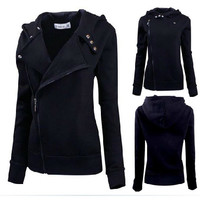 Fashion Winter Women Zip Black Slim Fit Sweater Jumper Hoodies Coat