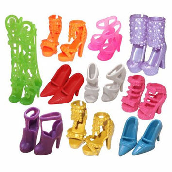 Free Shipping 10 Pair Fashion Colorful Doll Accessories Shoes Heels Sandals For Barbie
