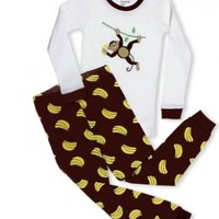 "Leveret Little Boys ""Monkey"" 2 Piece Pajama 100% Cotton (2-8 Years)"
