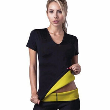 Hot Shapers Lose Weight Woman Short Sleeves Tops Fitness T Shirt Spontaneous Hot Thin Body Workout Clothing