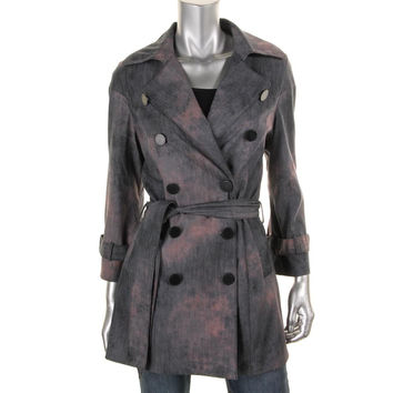 Catherine Malandrino Womens Twill Double Breasted Trench Coat