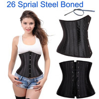 Slim_Dream 26 Sprial Steel Boned Pure Color Satin Underbust Lingerie Lace up back Corset Bustier with G-String,S-6XL [8833520332]