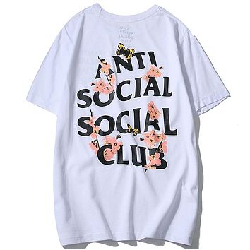 ANTI SOCIAL SOCIAL CLUB 2019 new cherry blossom butterfly print men's and women's round neck half sleeve shirt white