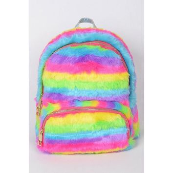 Faux Fur Backpack- Popsicle