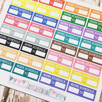 Daily Work Schedule Planner Stickers, set of 32 stickers for Erin Condren Life Planner, calendar, Filofax, Inkwell, Plum Paper