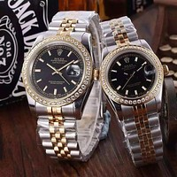 """ROLEX"" Lover Fashion Casual Trending Luxury Diamond Quartz Watch Casual Wristwatch Black G"