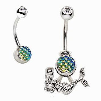 316L Stainless Steel 2-in-1 Fish Scale Cabochon Mermaid Navel Ring