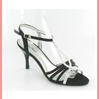 Black Satin Silver T Strap Dress Sandals-Retro Evening Shoes