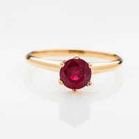 Simple Victorian Ruby Engagement Ring - Solitaire 1.50ct Natural Ruby 14k Gold Wedding Ring