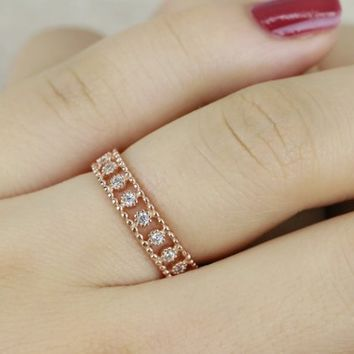 Vintage Rose Gold Plated Full Eternity Ring in Sterling Silver/Dainty stackable Ring/Stacking Ring