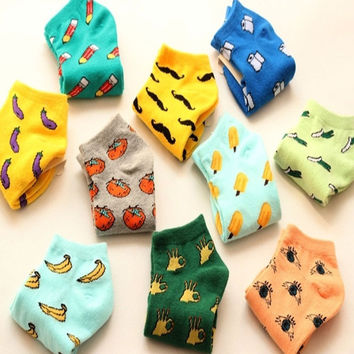 1-10 Pairs Lovely Cute Women Girls Fruit Vegetable Printed Cotton Casual Low Cut Boat Summer Thin Ankle Socks