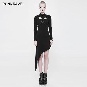 2018 Punk Rave Fashion Black Party Gothic Cotton Asymmetrical Slant Hem Knit Women Dress WQ365