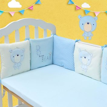 6pcs/set Comfortable Cute Baby Crib Cotton Bumper Bed Protector Nursery Care