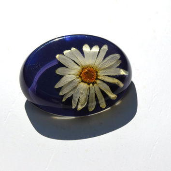 Daisy brooch Real flower brooch Dried flower preserved in resin Autumn gift for her
