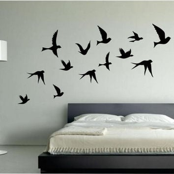 Wall Painting Designs Birds : Flying flock of birds wall stickers