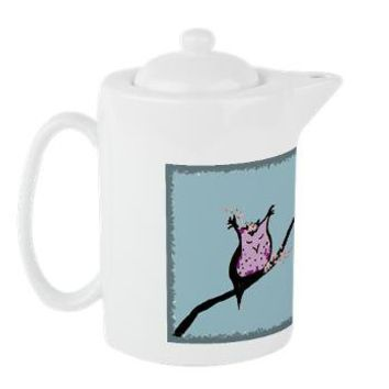 Cherry Blossom Owl Teapot> Forest and Felines> The Rustic Home